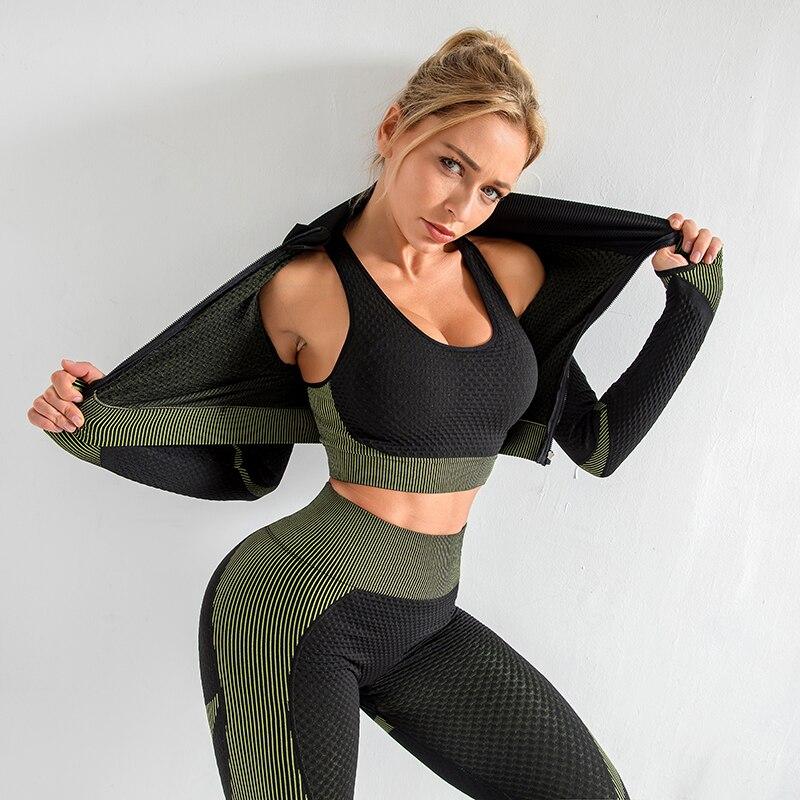 Las mujeres yoga conjunto, ropa de gimnasio Mujer Deporte fitness traje ropa deportiva yoga top + Leggings sin las mujeres gimnasio yoga conjuntos con sujetador S XL|Conjuntos de yoga|   - AliExpress
