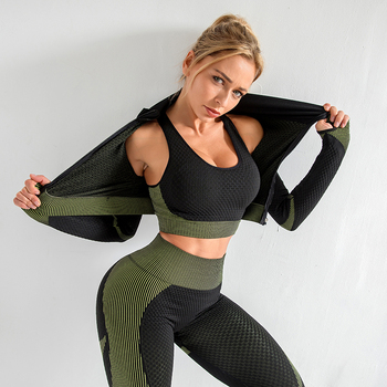Women yoga set gym clothing Female Sport fitness suit Running Clothes top+  Leggings women Seamless bra suits S-XL