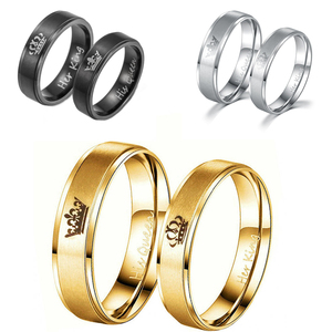 Women His Queen Stainless steel Ring Black Gold Color Simple Design Her King Couple Ring Wedding Ring for Female Men