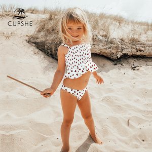 CUPSHE Cherry Smocked Bikini Sets For Toddler Girls 2020 Tank Top Toddler Kids Children Swimsuits Swim Bathing Suits 2-12 Years