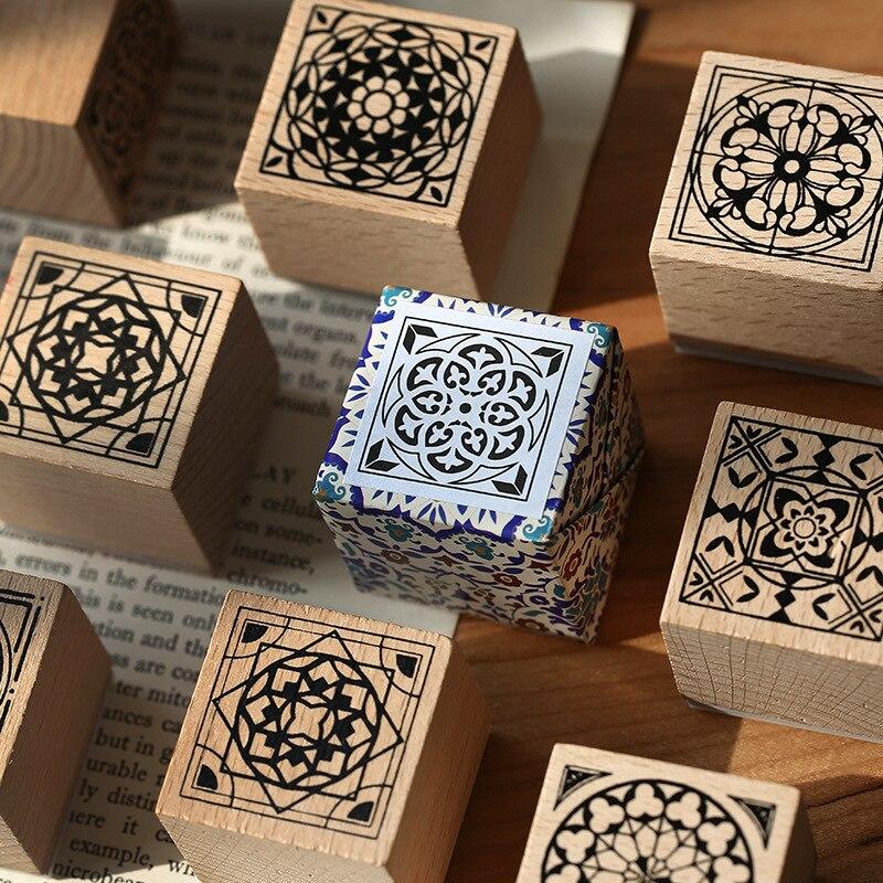 Vintage European Tile Decoration Stamp Wooden Rubber Stamps For Scrapbooking Stationery DIY Craft Standard Stamp