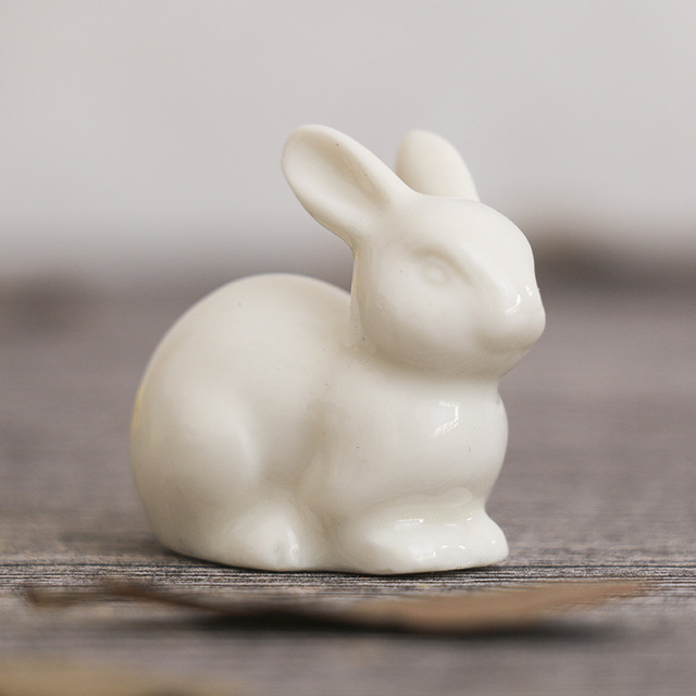 lovely ceramic rabbit family hare nordic style white home decoration desktop ornaments craft miniature fairy landscape DHLL01 5