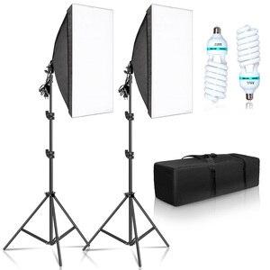 Image 1 - Kit de boîte à lumière pour photographie 50x70CM, système déclairage professionnel avec ampoules E27, équipement de Studio Photo