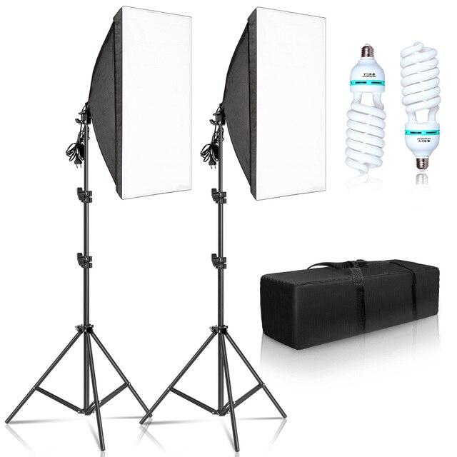 Kit de boîte à lumière pour photographie 50x70CM, système déclairage professionnel avec ampoules E27, équipement de Studio Photo