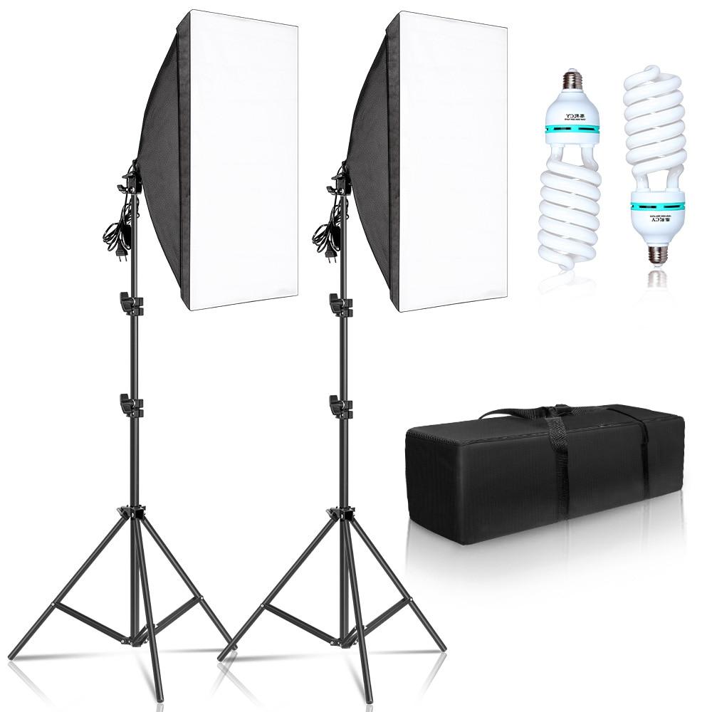 Fotografie 50x70CM Softbox Beleuchtung Kits Professionelle Licht System Mit E27 Fotografische Lampen Foto Studio Ausrüstung