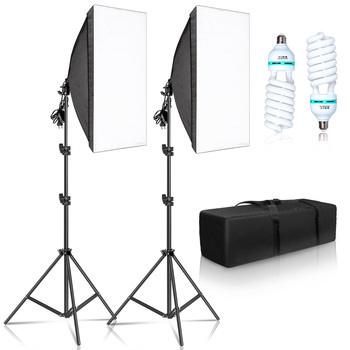 Photography 50x70CM Softbox Lighting Kits Professional Light System With E27 Photographic Bulbs Photo Studio Equipment