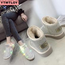 Warm winter boots ladies snow shoes ankle womens 2019 sequins fashion wild