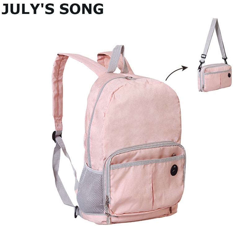 JULY'S SONG Foldable Backpack Portable Dual-use Shoulder Bag Daypack Waterproof Multifunctional Travel Bag Men Women School Bag