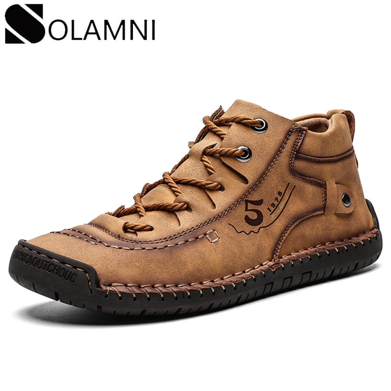 Retro Leather Boots Mens Casual Shoes Comfortable Waterproof Ankle Boots Male Anti-Slip Winter Warm Fur Boots Big Size Flat Shoe