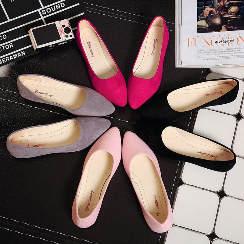 2020 New Women Flats Slip On Flat Shoes Candy Color Woman Boat Shoes Black Loafers Faux Suede Ladies Ballet Flats