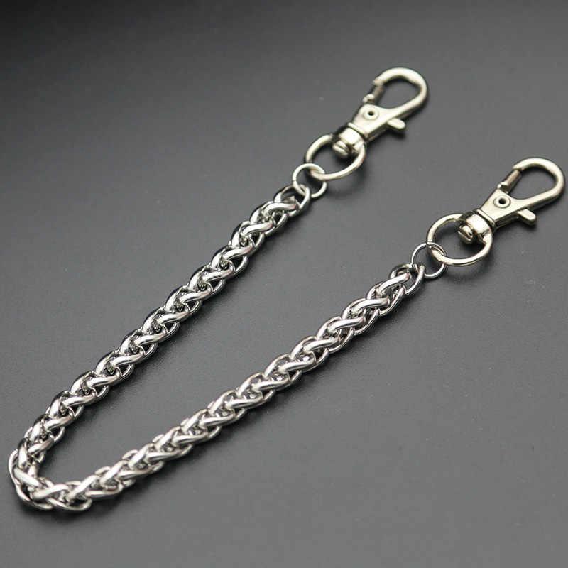 Fashion Kalung Stainless Steel Logam Panjang Dompet Tali Rantai Celana Jean Gantungan Gantungan Kunci Klip Pria Hip Hop Perhiasan
