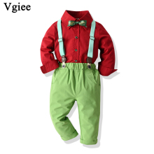 Vgiee Boys Fall Outfits for Wedding Birthday Party Children Solid Red Winter Kids Set Clothes Baby Boy CC749