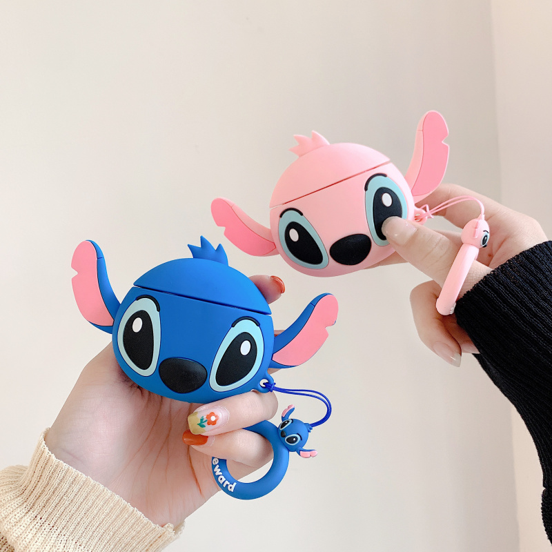 3D Earphone Case For Airpods 2 Case Silicone Stitch Cat Cartoon Headphones Cover For Apple Air Pods 1 Case For Earpods Key Ring