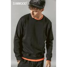 SIMWOOD 2019 Autumn New Hoodies Men Casual Minimalist Sweatshirt O-neck Embroidery logo Plus Size Basic Pullover  SI980547