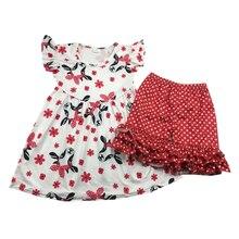 סיטונאי תינוק בגדי תינוקות סטי בגדים מזדמנים תינוק אדום שור הדפסה
