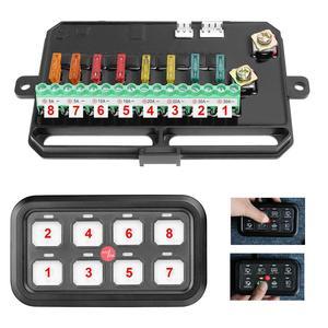 Image 5 - 8 Gang LED anahtarı paneli ince dokunmatik kontrol Panel kutusu ile kablo demeti ve etiket çıkartmaları araba tekne karavan