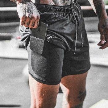 Spodenki do biegania męskie spodenki sportowe 2 w 1 siłownie Fitness wbudowana kieszeń bermudy szybkie suche szorty do biegania męskie spodnie dresowe męskie spodenki tanie i dobre opinie Sfit Poliester Pasuje prawda na wymiar weź swój normalny rozmiar sports shorts Drukuj M L XL XXL XXXL 4XL Leisure Fitness Running