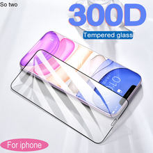 300d proteção vidro temperado para iphone 11 pro x xr xs max protetor de tela para iphone 11 pro max vidro de cobertura completa no iphone x