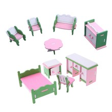 2 Set Baby Wooden Dollhouse Furniture Dolls House Miniature Child Play Toys Gifts - 11 & 9(China)