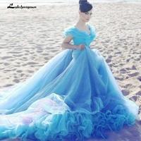 New Cinderella Light Blue Wedding Dresses Cheap Crystal Ball Gown Off Shoulder Beads Court Train Bridal Dress vestido de novia