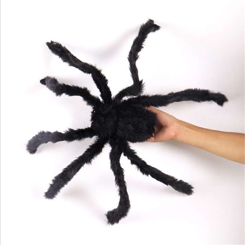 60cm Large Spider Halloween Decoration for Home Bar Haunted House Spider Cotton Web Halloween Artificial Spider Silk Props-S