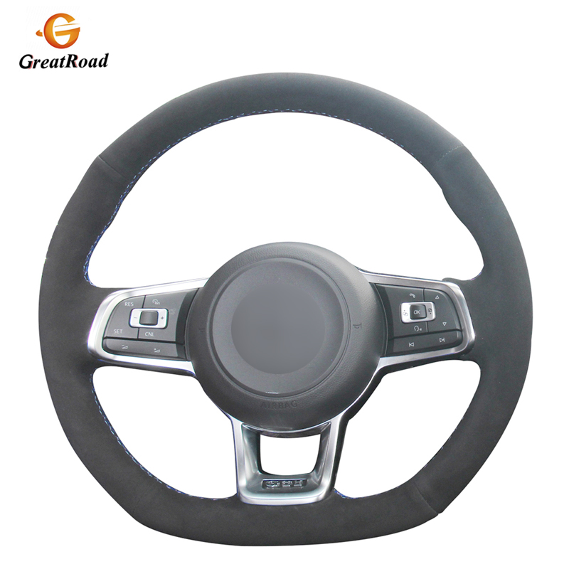 Hand-stitched DIY Black Suede Car Steering Wheel Cover for Volkswagen <font><b>VW</b></font> <font><b>Golf</b></font> <font><b>7</b></font> <font><b>GTI</b></font> <font><b>Golf</b></font> R MK7 <font><b>VW</b></font> Polo <font><b>GTI</b></font> Scirocco 2015 2016 image