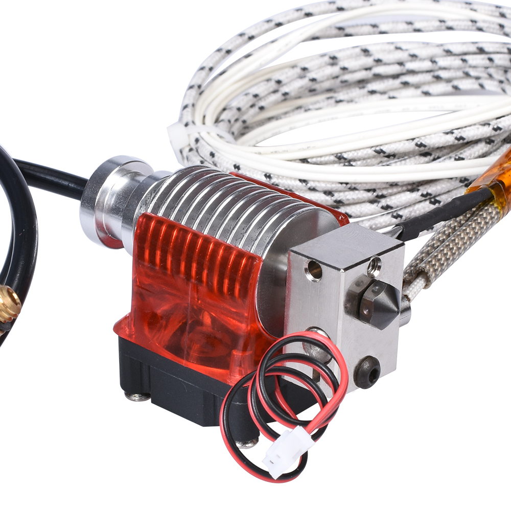 Hohe Qualität V6 Überzogene Kupfer Hotend Gehärtetem stahl Düse Wärme Block Kühlkörper Remote Extruder mit Fan 12V 50W für PETG PEEK
