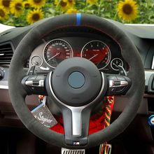 أسود الجلد المدبوغ عجلة توجيه سيارة غطاء ل BMW M F86 X6 M F33 F30 M F87 M2 F80 M3 F82 M4 M5 F12 F13 M6 F85 X5