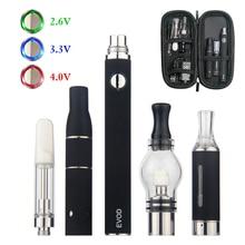 Kingfish 4 in 1 Dry herb vaporizer EVOD VV 650/900/1100mah Battery dry Herbal vapor wax Vape pen mini kit MT3 CE3 atomizer