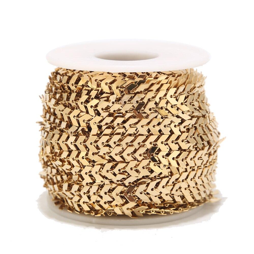 1 mètre 6mm largeur acier inoxydable Chevron lien chaîne chaînes en or pour collier Bracelet cheville bijoux à bricoler soi-même faisant des fournitures