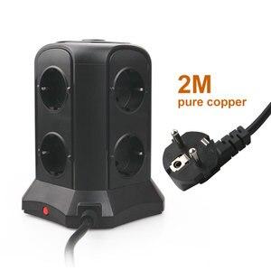 Image 5 - Tessan eu power strip torre com 5 portas usb + 12 soquetes 2m/6.5ft cabo de extensão protetor de sobrecarga para o interruptor eu plug