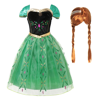 Girls Ana Elza Princess Dress Kids Costumes Cornation Dresses for Girl Child Halloween Birthday Cosplay Party Fancy Gown