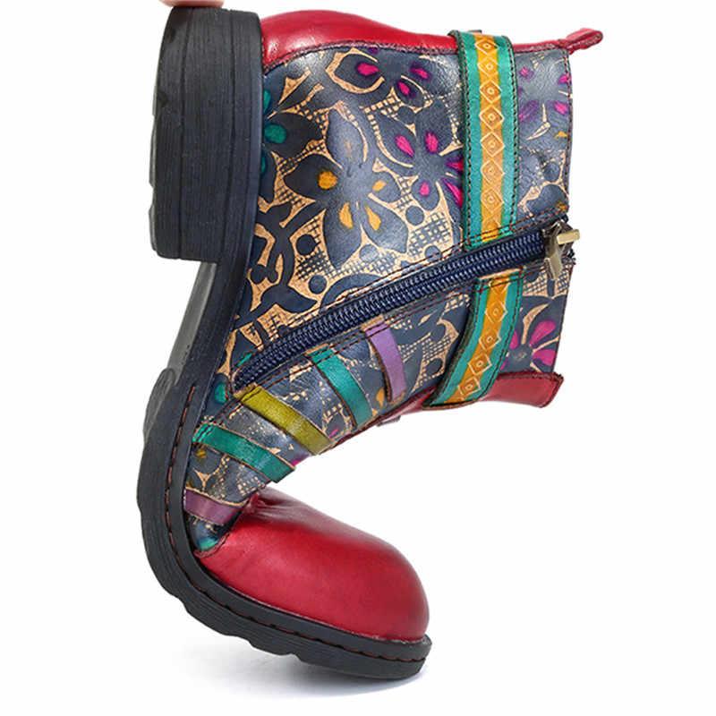 SOCOFY Bohem Tarzı Deri El Boyalı Vintage Casual Bayanlar yarım çizmeler Batı Kovboy Motosiklet yarım çizmeler Kadın