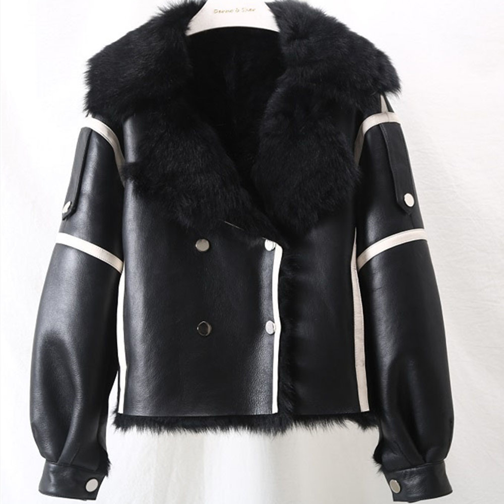 Grande taille en cuir véritable veste en peau de mouton véritable fourrure pardessus femme Europe chaud naturel fourrure manteau femmes Double Face peau de mouton