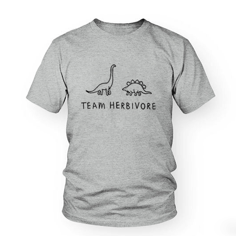 White T-shirt <font><b>Tshirts</b></font> Black Tee TEAM HERBIVORE <font><b>Dinosaur</b></font> Print Funny T-Shirt Unisex Vegan Tee Cute Tops Funny Women Men T Shirt image