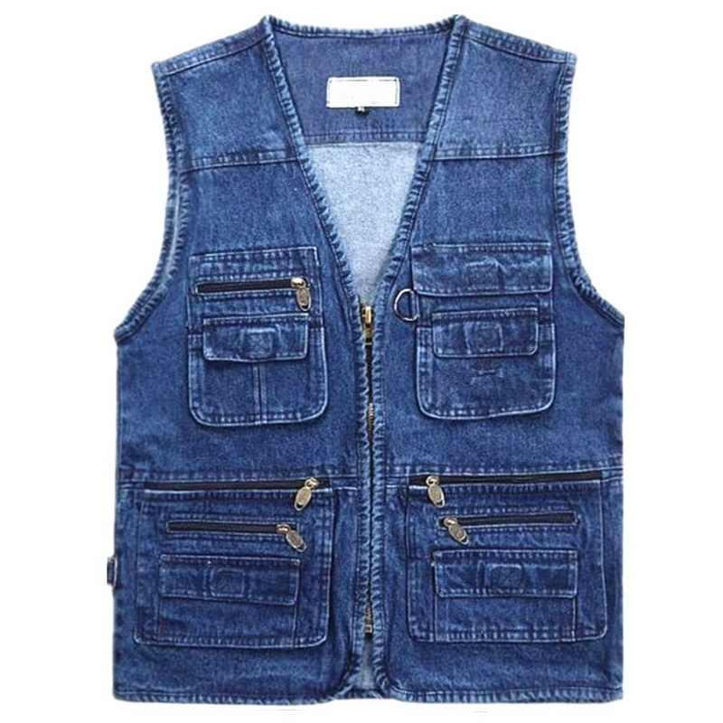2020 HERBST Frühling Kleidung Ärmellose Jacke Denim Jeans Weste Männer der Fotografie Fisch Dünne Weste Plus Größe XL-6XL