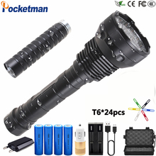 200000 Lumens T6*24 Waterproof LED Flashlight 5 Modes LED Torch Tactical Flashlight  Linterna Portable Lamp Light