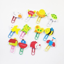 12Pcs/pack Kawaii Cute Cartoon Animal Wooden Paper Clip For Book Stationery School Office Supplies