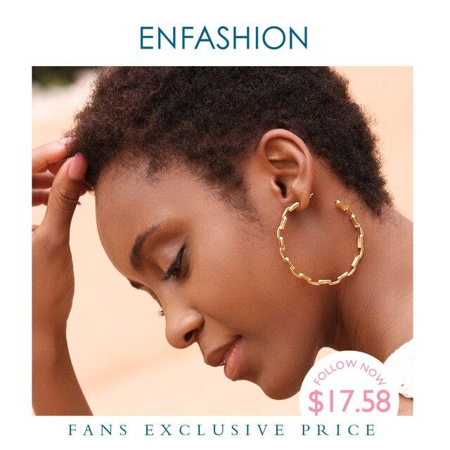 Enfashion Dạng Nguyên Chất Liên Kết Dây Chuyền Đôi Khuyên Tai Vòng Cho Nữ Vòng Tròn Lớn Treo Tường Màu Vàng Earings Trang Sức Aros Orecchini Cerchio EF1083