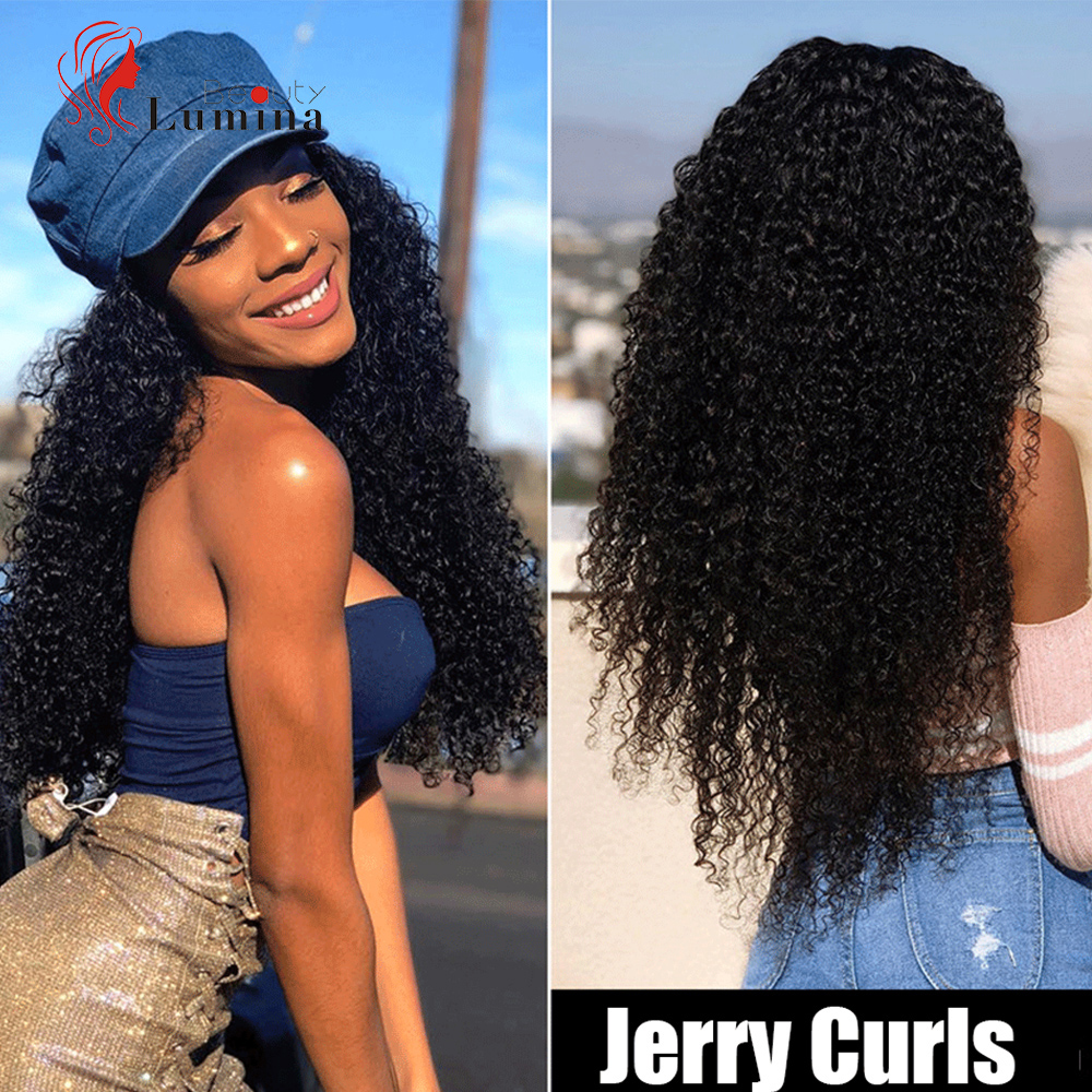 Brazilian Jerry Curl Wig Curly Lace Front Human Hair Wig Pre Plucked Hairline With Baby Hair 13X4 Lace Front Wig For Black Women