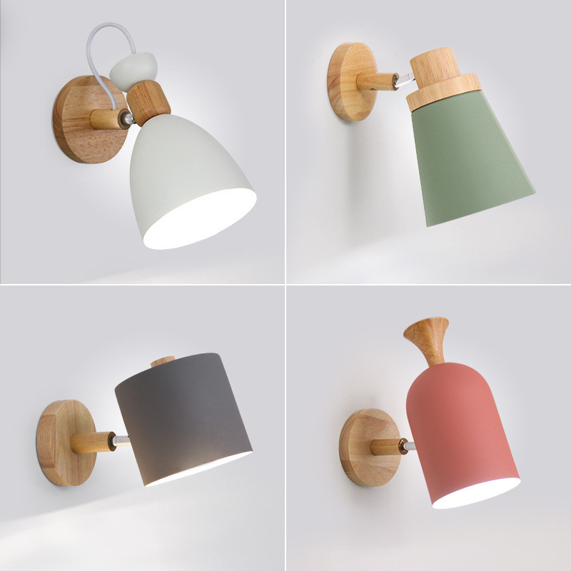 LED Wall Lamp Nordic Wooden Wall Light 220V E27 Bedside Wall Lamp luminaire Macaroon Wall Sconce for Dining Room Restaurant Cafe