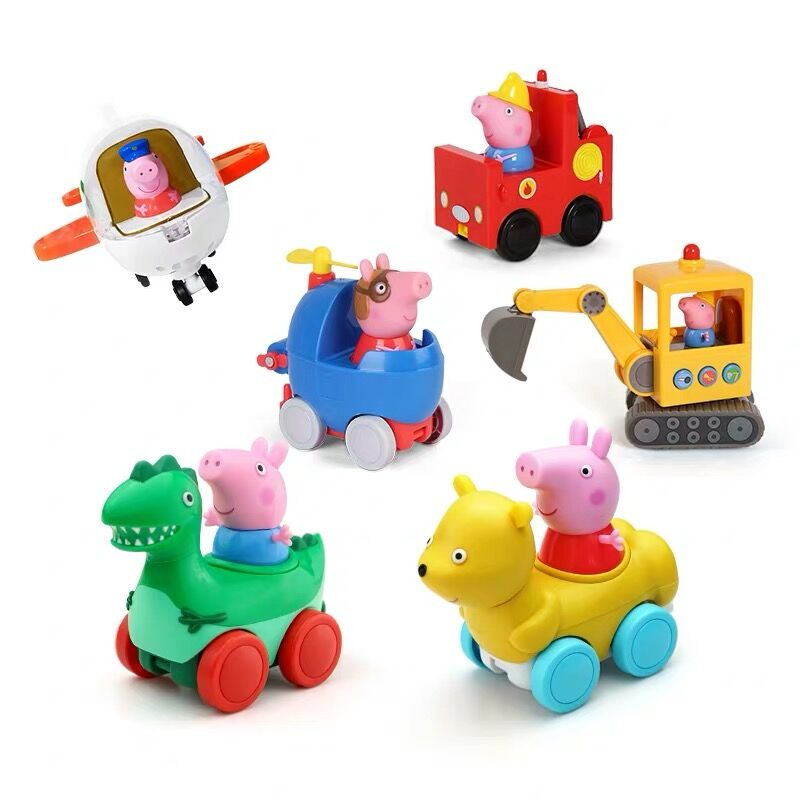 Genuine PEPPA PIG Dinosaur Car Pilot Flight Firefighter Car Pack Teddy Bear With George Peppa KIDS TOY Children's Birthday Gift