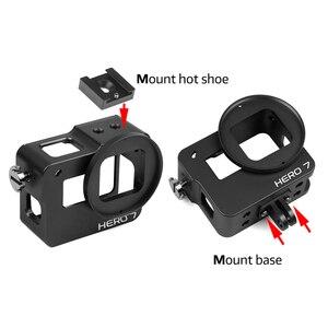 Image 4 - לירות CNC אלומיניום סגסוגת מגן מקרה הר עבור GoPro גיבור 7 6 5 שחור כלוב עם UV מסנן עבור ללכת פרו גיבור 7 6 5 אביזרים