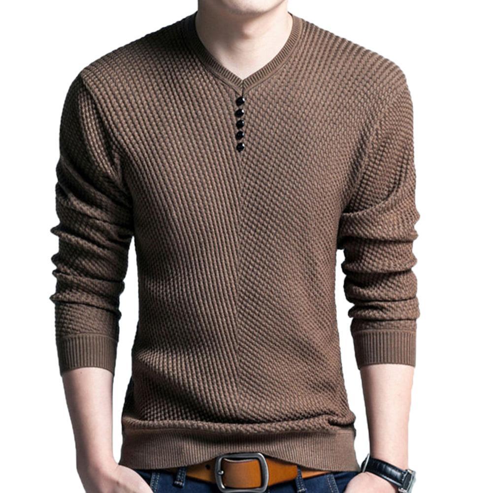 Chic Men Solid Color V Neck Long Sleeve Pullover Slim Fits Knitted Sweater Blouse Korean Temperament Slim Men's Knit Pullover
