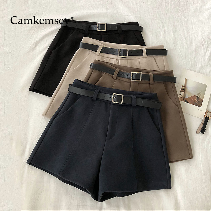 CamKemsey Korean Autumn Casual High Waist Wool Blends Shorts Women 2020 Office Lady Leisure Suit Shorts With Sashes