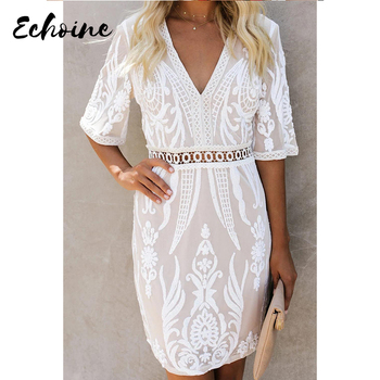 Echoine White Embroidered Sequin Mini Dress Women Sexy Deep V Neck Half Sleeve Plus Size S-XL Beach Party Short Dress 1