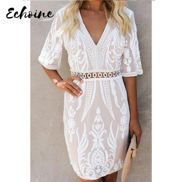 Echoine White Embroidered Sequin Mini Dress Women Sexy Deep V Neck Half Sleeve Plus Size S-XL Beach Party Short Dress 1