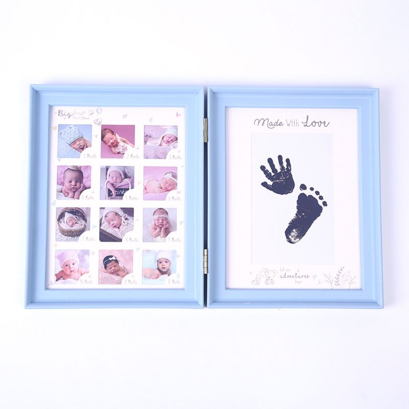 Newborn Baby Hand Foot Ink Pad Print Infants Full Moon Age Growth Photo Frame