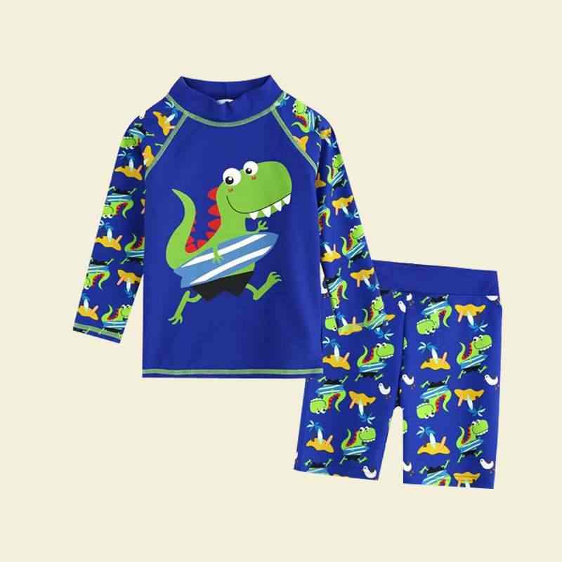 ที่ยอดเยี่ยม! เด็กชุดว่ายน้ำชุดว่ายน้ำชุดว่ายน้ำชุดเด็กวัยหัดเดินแขนยาวรูปแบบการ์ตูนเสื้อกางเกงขาสั้น
