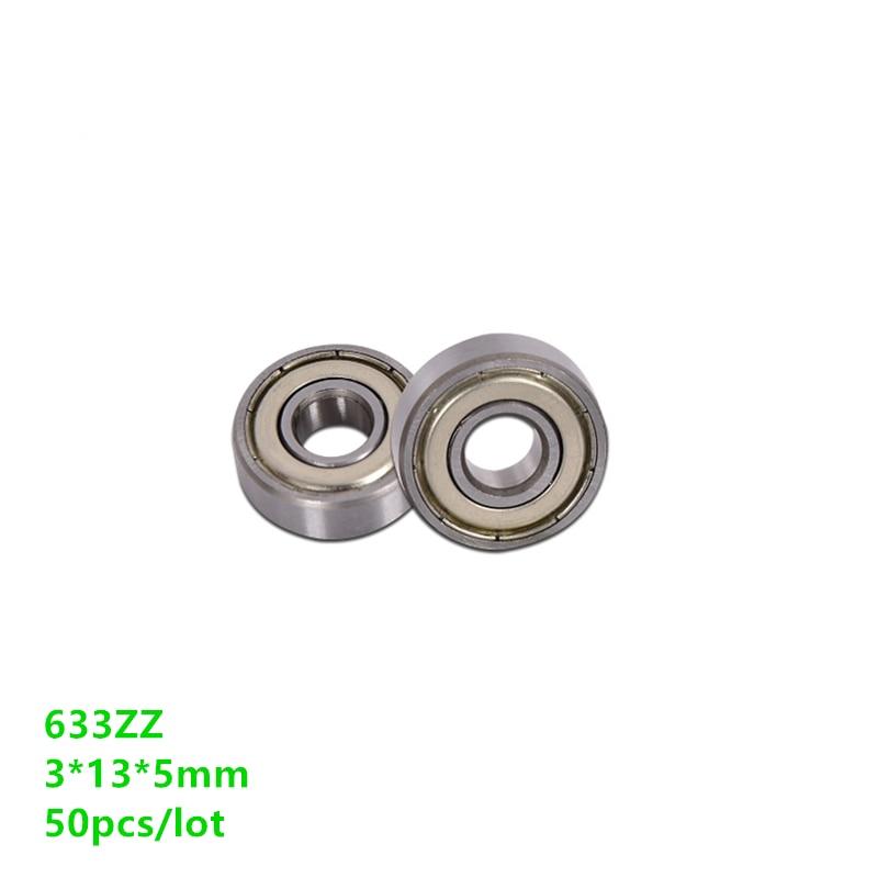 50pcs/lot 633ZZ 633Z 633 3*13*5 mm miniature shielded deep groove ball bearing 3x13x5
